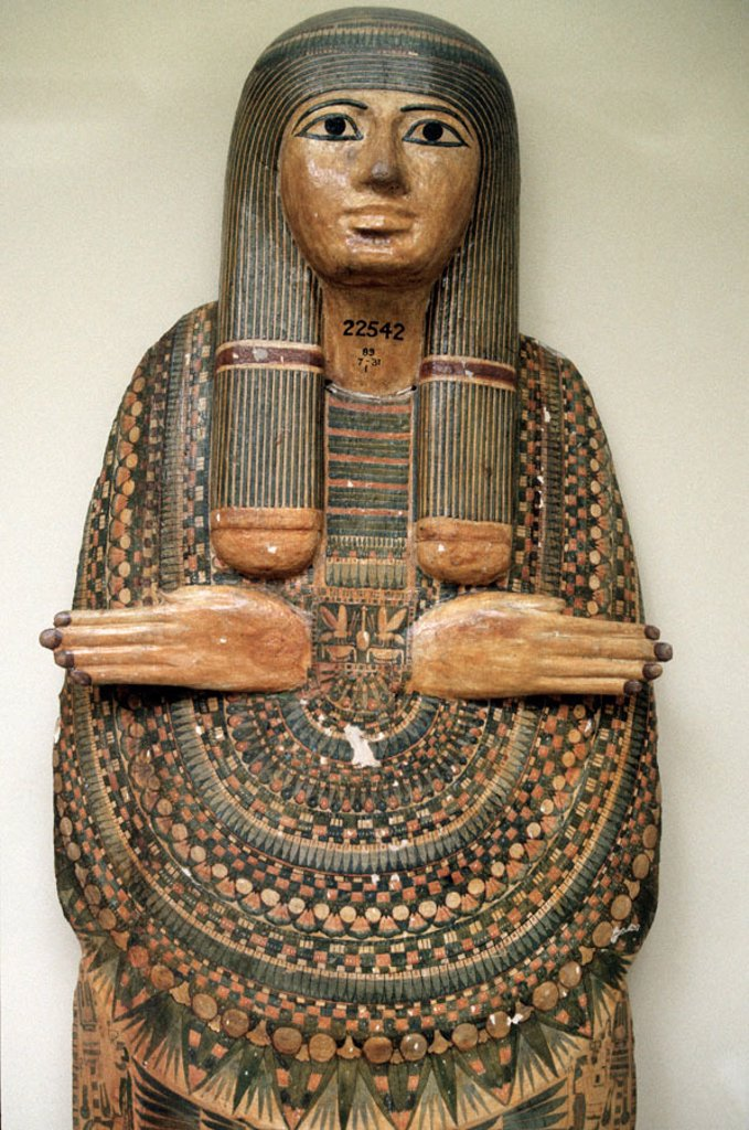 Mummy board of the Chantress of Amun, Tameniut, at British Museum, London. England : Stock Photo