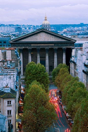 Stock Photo: 1566-530643 Sainte-Marie Madeleine church and Rue Tronchet, evening aerial, Paris, France