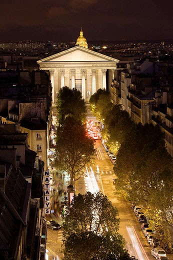 Sainte-Marie Madeleine church and Rue Tronchet, evening aerial, Paris, France : Stock Photo