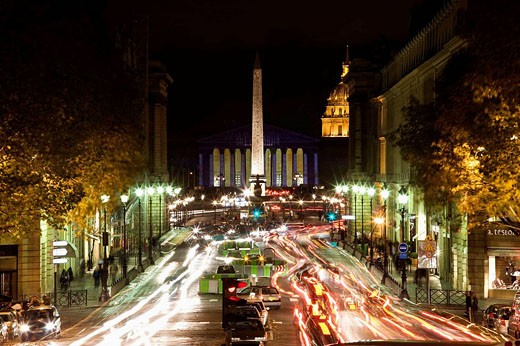 Stock Photo: 1566-530647 Traffic on Rue Royale from Sainte-Marie Madeleine church in the evening, Paris, France