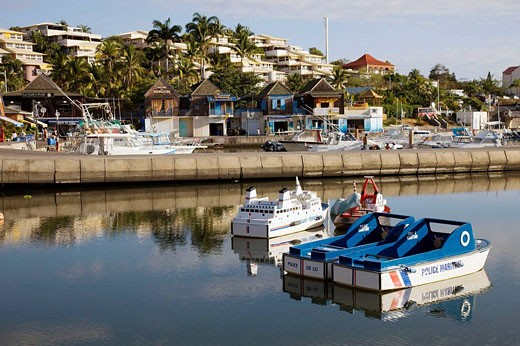 Port de Plaisance marina and kiddie boats, Saint-Gilles-les-Bains, Reunion island, France : Stock Photo