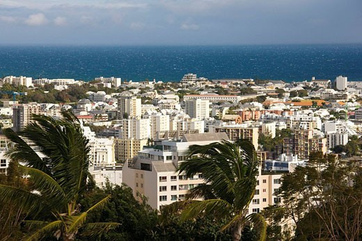 View from Montgalliard in the morning, Saint-Denis, Reunion island, France : Stock Photo