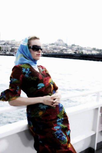 Stock Photo: 1566-531798 Woman in a cruise along the Bosporus, Istanbul, Turkey