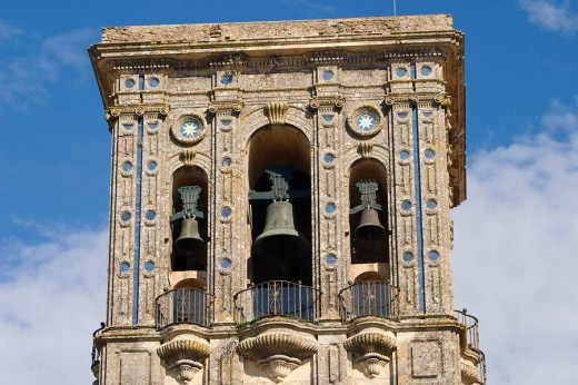 Stock Photo: 1566-533708 Belltower of the lesser basilica of Santa Maria de la Asuncion, Arcos de la Frontera. Cadiz province, Andalucia, Spain