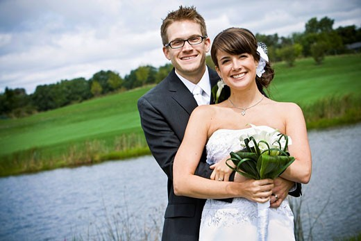 Newlyweds, Bride and Groom, outdoor portraits : Stock Photo