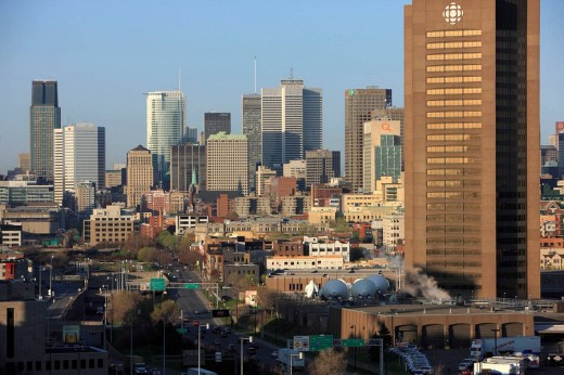 Stock Photo: 1566-535488 Downtown from Jacques Cartier Bridge, Montreal, Quebec, Canada