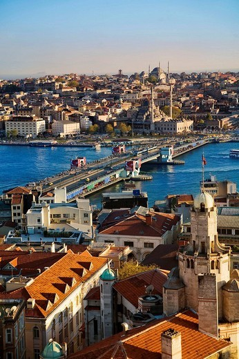 Galata Bridge with Galata district at fore and New Mosque on the opposite side, Istanbul, Turkey : Stock Photo