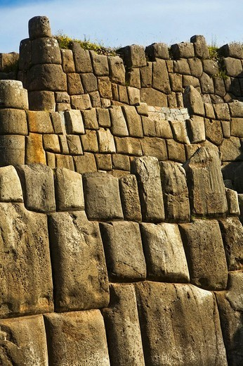 Sacsayhuaman pre-Columbian walled complex near the old city of Cusco, Peru : Stock Photo
