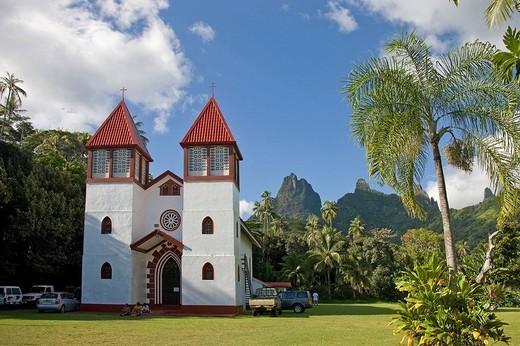 Haapiti Church, Moorea, Society Islands, French Polynesia (May, 2009) : Stock Photo