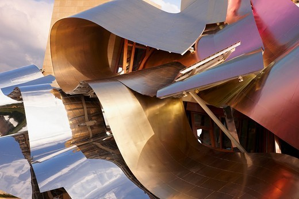 Hotel designed by Frank Gehry, Bodegas Marques de Riscal, Elciego, Rioja Alavesa, Araba, Basque Country, Spain : Stock Photo