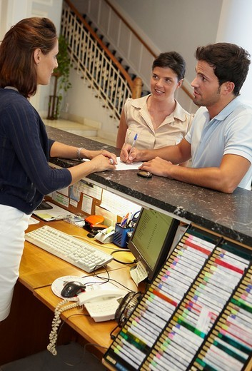 Check-in, reception at hotel and spa. Lierganes hotel and spa, Cantabria, Spain : Stock Photo