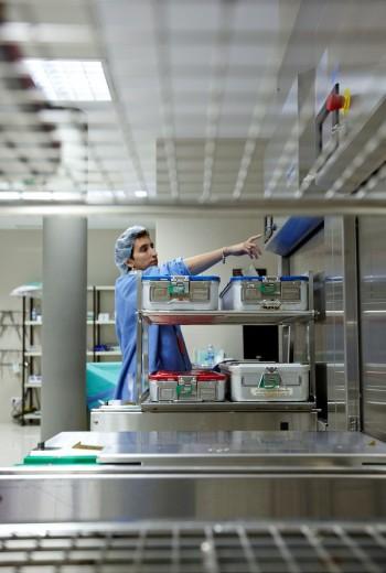 Autoclave, surgical instruments, sterilization. Hospital Policlinica Gipuzkoa, San Sebastian, Donostia, Euskadi, Spain : Stock Photo