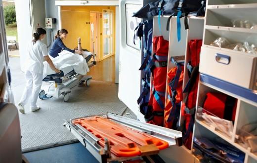 Stock Photo: 1566-537669 Ambulance, emergencies. Hospital Policlinica Gipuzkoa, San Sebastian, Donostia, Euskadi, Spain