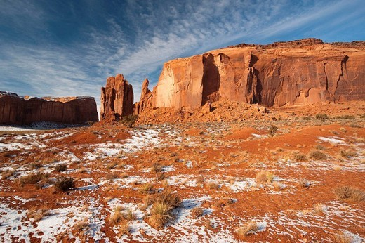 Monument Valley in the snow, Monument Valley Navajo Tribal Park, Arizona, USA : Stock Photo