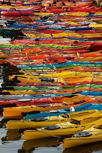 Ocean kayaks, Rockport Harbor, Rockport, Cape Ann, Massachusetts, USA : Stock Photo