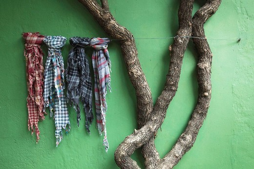 Fabric samples and tree outside shop, Colonia del Sacramento, Uruguay : Stock Photo