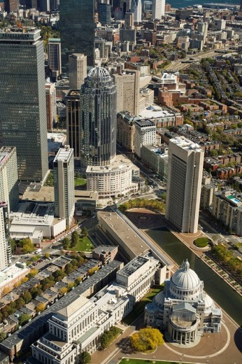 Aerial view, Prudential Center area and Christian Science Mother Church (foreground), Back Bay, Copley, Boston, Massachusetts, USA (looking northeast) : Stock Photo