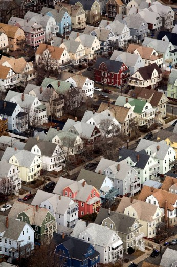 Neighborhood housing, Somerville, aerial, Boston, Massachusetts, USA : Stock Photo
