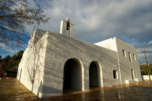 Church (19th century), Santa Agnes de Corona, Ibiza. Balearic Islands, Spain : Stock Photo