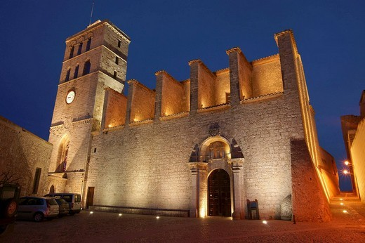 Stock Photo: 1566-541205 Gothic cathedral of the Verge de les Neus (13th century), Dalt Vila, Ibiza. Balearic Islands, Spain