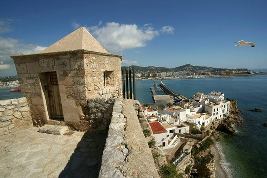 Stock Photo: 1566-541211 Bastion of Santa Llucia and Sa Penya neighbourhood, Dalt Vila fortified town (16th century), Ibiza. Balearic Islands, Spain