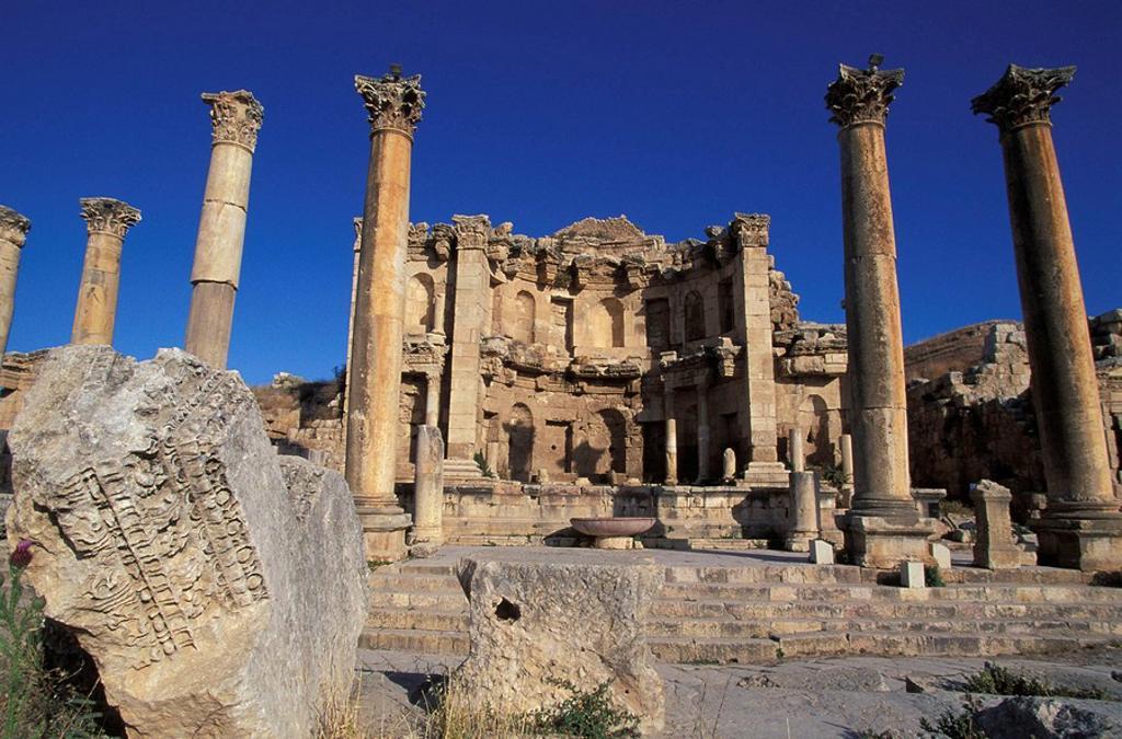Nymphaeum, archaeological site of Jerash, Jordan : Stock Photo