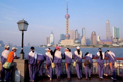 View of Pudong from the Bund, Huangpu river, Shanghai, China : Stock Photo