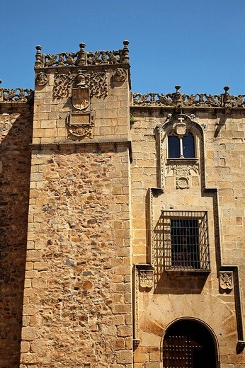 Palace of the Golfines, old town, Caceres. Extremadura, Spain : Stock Photo