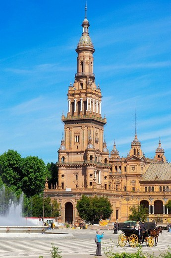Plaza de España in Maria Luisa Park, Seville. Andalusia, Spain : Stock Photo