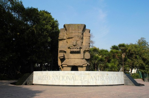 Tlaloc monolith and Museo Nacional de Antropologia (Nationa Museum of Anthropology) sign, Chapultepec, Mexico City. Mexico : Stock Photo