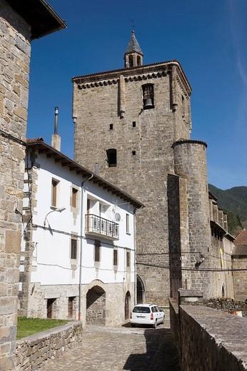 Church of San Cipriano, Isaba. Navarra, Spain : Stock Photo