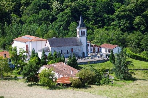 Stock Photo: 1566-543776 Church of Saint-Jean-Porte-Latine, Bussunarits-Sarrasquette. Pyrenees-Atlantiques, Aquitaine, France