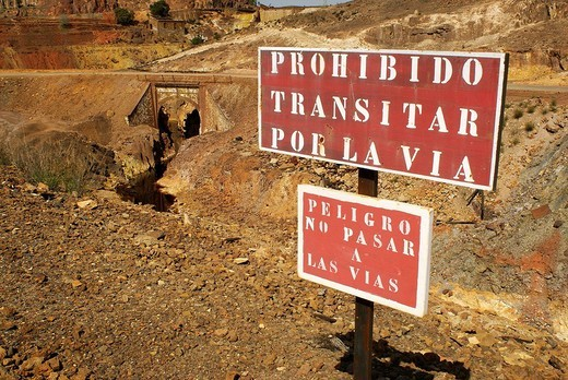 Stock Photo: 1566-544265 Riotinto old mine railway sign. Huelva province, Andalusia, Spain