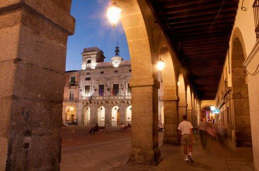 Stock Photo: 1566-544374 Mercado Chico Square from the arcade, night view  Ávila  Castile Leon  Spain