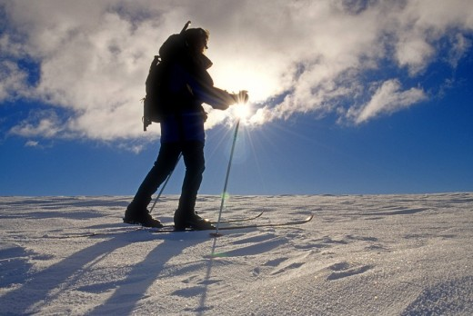 Stock Photo: 1566-550778 Tracey Weber, backcountry skiing on Deadline Ridge high in the Goose Creek Mountains of southern Idaho