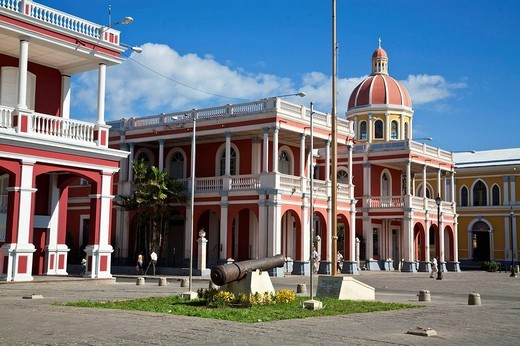 Stock Photo: 1566-552058 Plaza de la Independencia in front of Parque Colon (aka Central Park), Granada, Nicaragua