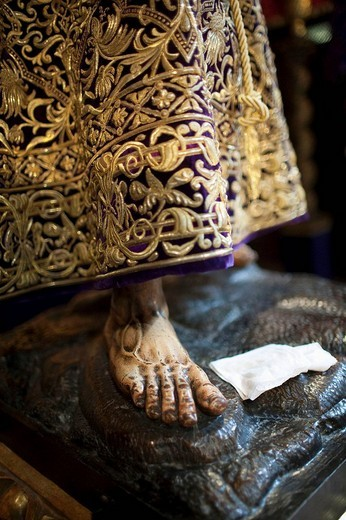 Stock Photo: 1566-552573 Right feet of a Baroque carving of Our Father Jesus Nazareno by Francisco de Ocampo (c. 1610), Seville. Andalusia, Spain