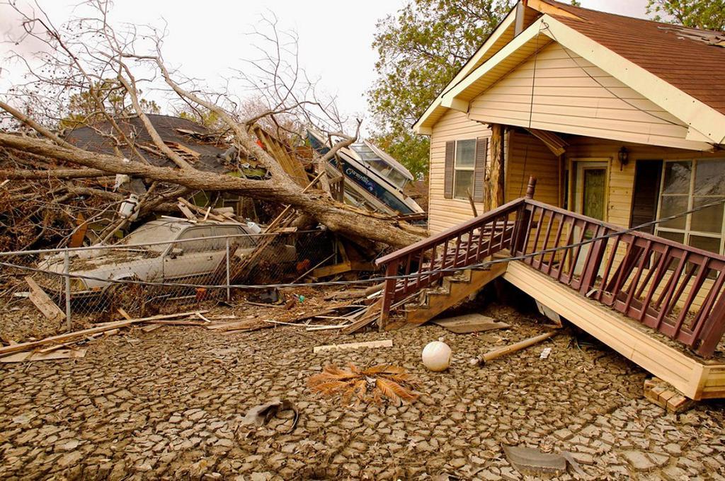 Stock Photo: 1566-552787 Hurrican Katrina damage. New Orleans, La.. The Ninth Ward