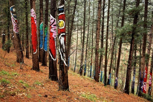 Forest of Oma pictorial work by Agustin Ibarrola, Cortezubi (Kortezubi), Vizcaya (Bizkaia), Basque Country, Spain : Stock Photo