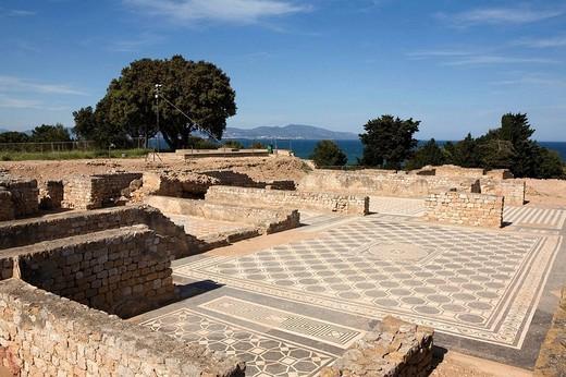 Spain, Cataluña, Girona, Costa Brava, Alt Empordà, Empúries, roman ruins. : Stock Photo