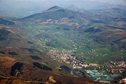 Stock Photo: 1566-553783 Vera de Bidasoa and La Rhune mountain in background, Navarre, Spain