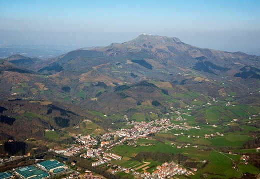 Vera de Bidasoa and La Rhune mountain in background, Navarre, Spain : Stock Photo