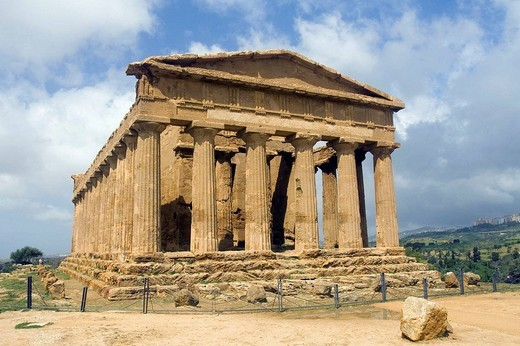 Ancient Greek Temple of Concord Valley of the Temples Agrigento archaeological site Sicily Italy : Stock Photo