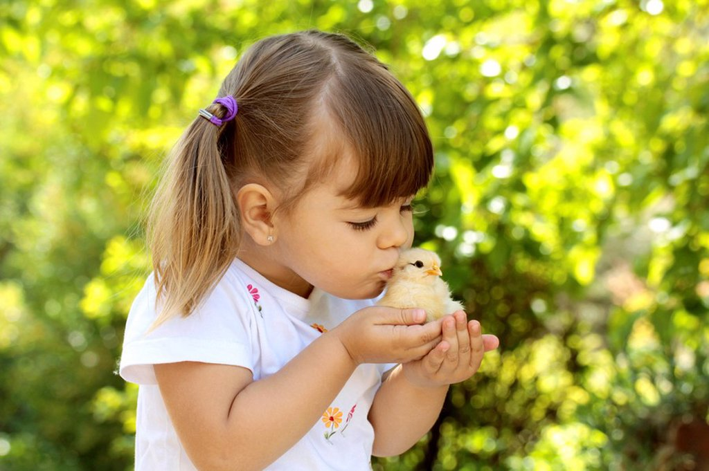 Stock Photo: 1566-555407 Little girl with chick
