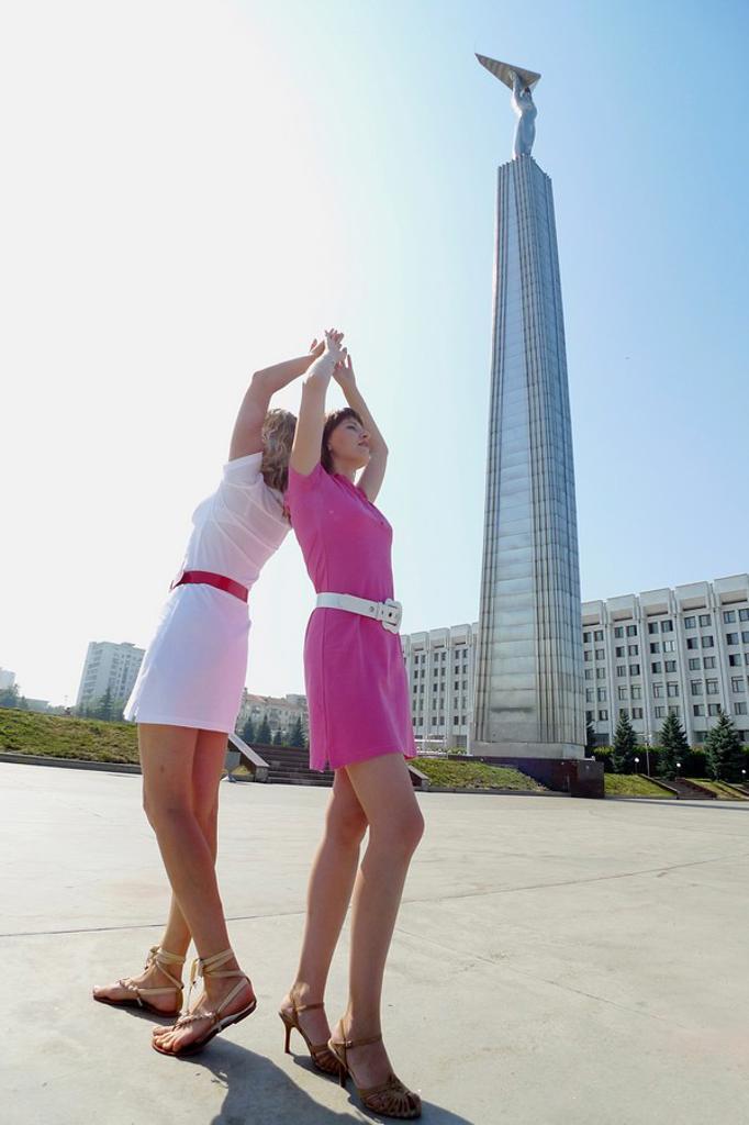 Stock Photo: 1566-557329 Women front the Glory Monument, Samara, Samara Region, Russian Federation, Russia