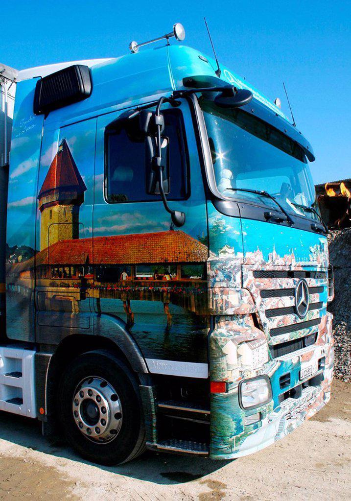 Painted truck (Luzern chapel bridge) : Stock Photo