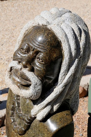 Stone sculpture by a Zimbabwean artist, Cape Town area, South Africa : Stock Photo