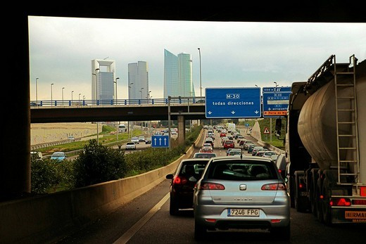 New high rise buildings seen from the NI. A30 highway, Madrid, Spain : Stock Photo