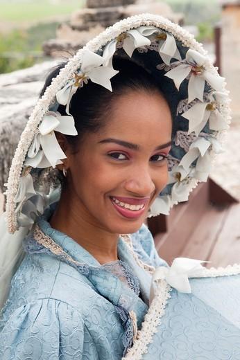 Stock Photo: 1566-563998 Dominican Republic, La Romana, Altos de Chavon, Dominican female dancer in costume, R, MR-DRE-09-02