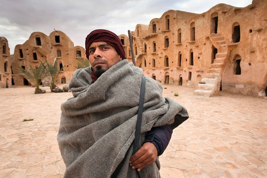 Stock Photo: 1566-565082 Tunisia, Ksour Area, Ksar Ouled Soltane, middle-aged Tunisian man, R, MR-TUN-10-004